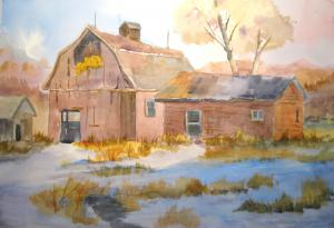 Winter on the Farm - Watercolor